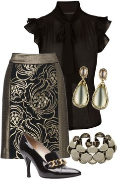 """""""Black and Gold"""" by tishaod ❤ liked on Polyvore"""