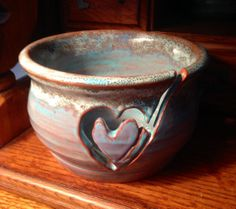 Hand Thrown One of a Kind Yarn Bowl With Hand by TheFathersMarket, $34.00