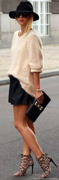 Fuzzy cream sweater and strappy leopard shoes