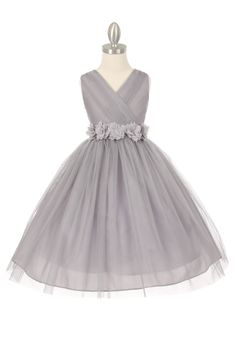85e9adfe1 Girls Dress Style 1220 - SILVER Dress with 14 Sash Options A truly amazing  and timeless