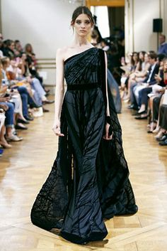 ZAHAIR MURAD - HAUTE COUTURE 2013/2014 Long asymmetrical dress in black chiffon and velvet, wide sleeve with cascade panel