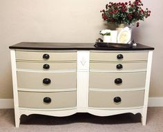RamieJames Designs_ refinished this gorgeous dresser with Antique White Milk Paint with Millstone drawers, Dark Chocolate on top, and High Performance Top Coat in Flat.