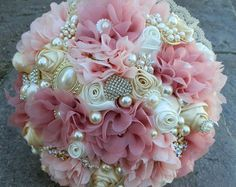 Brooch Bouquet Custom Cascading Ivory Pearl by Elegantweddingdecor