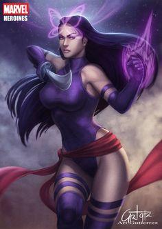 "Psylocke by Art Gutierrez ♥ Elizabeth ""Betsy"" Braddock -Code Name-Psylocke. Mutant Abilities: Precognition, Telepathy,Telekinesis, Psychic katana, Psychic knife. Highly skilled martial artist"
