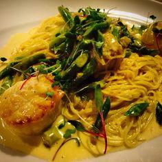 Jumbo scallops with asparagus and saffron cream #pastapane #dzrestaurants #scallops #italian
