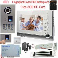 Em Door Lock Elegant In Smell Waterproof Rain Cover 8g Sd Free Shipping New 7 Door Monitor Video Intercom Home Door Phone Recorder System