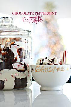 Chocolate Peppermint Trifle.  Prepped and assembled in less than 10 minutes.  Serve it up in a big jar.  Perfect for parties.