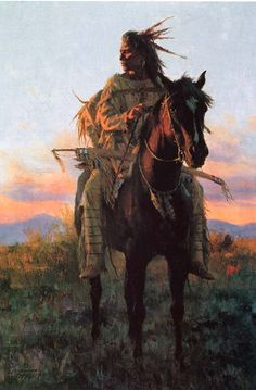 Last Rays of the Sun by artist Howard Terpning                                   ~ Far too soon, and then quite suddenly, the Plains Indian's world had come crashing down around him.The sacred spirit of Sun could not save the People now, and the Ghost Dance promise had proven hollow. The prairie sundown was fast approaching, and who could know what the new day would bring for the People?