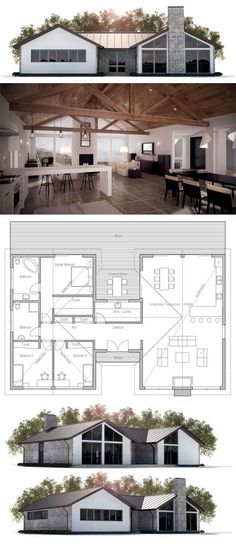 Floor area: 2002 sq ft Building area: 2296 sq ft Bedrooms: 3 Bathrooms: 2 Floors: 1 Height: 16′ 5″ Width: 64′ 4″ Depth: 40′ 4″