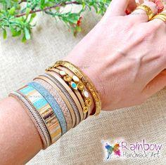 Handmade jewelry and more! Handmade Bracelets, Handmade Jewelry, Handmade Art, Light Blue, Bangles, Rainbow, Beige, Eyes, Bracelets