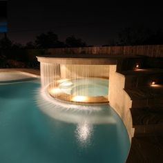 love the rain fall between the hottub and the pool