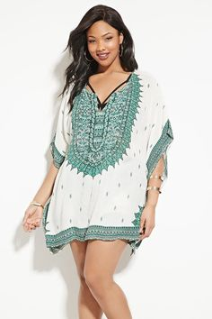 Plus Size Ornate Swim Cover-Up | Forever 21 PLUS - 2000168652
