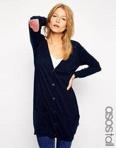ASOS TALL Cardigan With Heart Elbow Patch