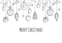 Een mooie kerstkaart met kerstballen in zwart-wit getekend, verkrijgbaar bij #kaartje2go voor € 0,99