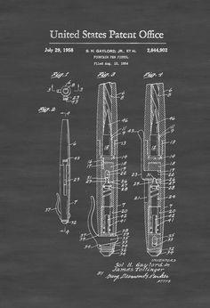 Fountain Pen Pistol Patent - Patent Print Wall Decor Gun Art Firearm Art Spy Patent Pistol Patent Spy Gear Secret Agent by PatentsAsPrints