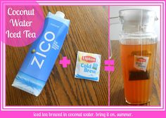 COCONUT WATER ICED TEA Meet your go-to summer drink!  I did some major kitchen re-organizing this weekend and ran across my cold-brew iced tea bags from last summer.  Nice timing! But when I went to my fridge to fill up my pitcher with water, I saw coconut water sitting right next to it.  Hmmmmmm.     A wonderful impulsive creation resulted!  Coconut water iced tea.  A simple two-ingredient refreshing drink.  I've had this first thing in the morning the last couple days and I am in love!