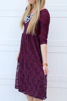 Sweetheart Lace Dress | Plum