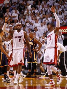 LeBron James and Dwyane Wade Photo - Indiana Pacers v Miami Heat - Game Five