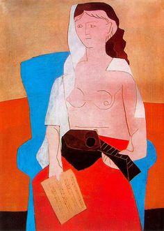 Woman with mandolin, 1925, Pablo Picasso Size: 130x97 cm Medium: oil on canvas
