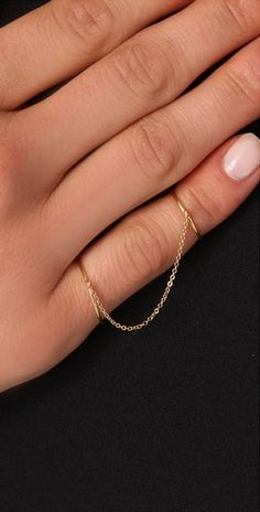 Jacquie Aiche Smooth Slave Chain Ring (I would prefer the chain to lay flat down the top of the finger; not taught, but not hanging as shown)