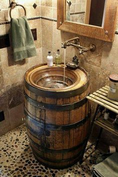 10 Awesome DIY Rustic Bathroom plans you might build for your bathroom decor Bar. - 10 Awesome DIY Rustic Bathroom plans you might build for your bathroom decor Barrel Sink Bathroom # - Cabin Bathroom Decor, Cabin Bathrooms, Rustic Bathroom Designs, Primitive Bathrooms, Rustic Bathrooms, Bathroom Interior, Bathroom Ideas, Bathroom Renovations, Bathroom Plans