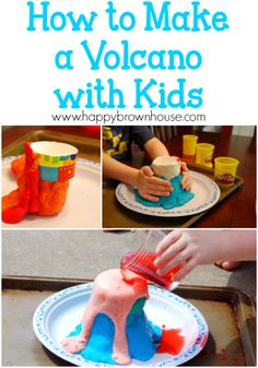 Science: How to Make a Volcano with Kids How to make an easy volcano with kids using common houehold ingredients.How to make an easy volcano with kids using common houehold ingredients. Volcano Projects, Science Projects For Kids, Easy Science Experiments, Science Activities For Kids, Preschool Activities, Kids Crafts, Science With Kids, Kids Volcano Experiment, Volcano Activities