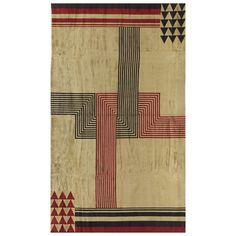 Vintage French Art Deco Rug by Marion Dorn Art Deco Rugs, Art Deco Home, Contemporary Rugs, Modern Rugs, Bauhaus, Art Nouveau, Natural Dye Fabric, Weaving Textiles, Victorian Art