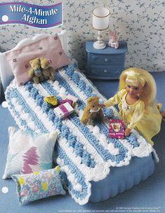 Mile-A-Minute Afghan, Annie's Fashion Doll Crochet Pattern Club Leaflet FC29-04