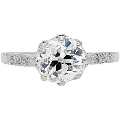 Romantic Edwardian 1.78ct Diamond Solitaire in Luxurious Platinum from beaconhilljewelers on Ruby Lane