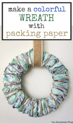 Making a wreath with paint, cardboard and packing paper, #DIYwreath #easycraftidea #Paperwreath #repurposedpackingpaper #cardboardcrafts #Rusticwreath How to Make a Colorful Wreath with Packing Paper, theboondocksblog.com