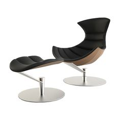 Leather & Steel Chair and Ottoman set i
