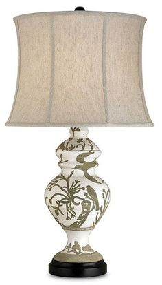 FREE SHIPPING IN THE US. USE CODE LOVE10OFF FOR 10% OFF YOUR ENTIRE PURCHASE.  The earthy colors and Natural Linen shade of our Giardino Table Lamp add a quiet sophistication to both casual and more formal interiors. The reverse glazing technique on this lamp makes the renderings of flora and fauna appear whimsical and chic.  PRODUCT NAME: Giardino Table Lamp DIMENSIONS: 33h x 18w NUMBER OF LIGHTS: 1 SHADES: Natural Linen 16x18x13