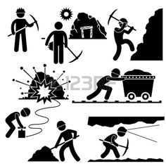 Mining Worker Miner Labor Stick Figure Pictogram Icon photo
