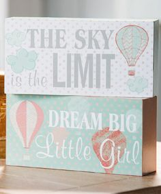 Look at this #zulilyfind! Mint & Coral Up in the Air Block Sign Set by Blossoms & Buds #zulilyfinds