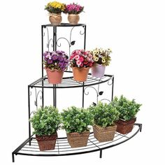 3 Tier Black Iron Plant / Shoes Stand, Quarter Round Etagere Plant Corner Shelf Flower Pot Plant Holder Planters Display Rack