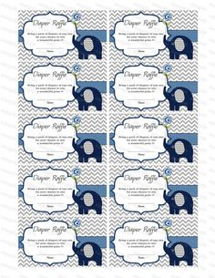 Elephant Baby Shower Games Diaper Raffle Ticket by diymyparty, $3.00