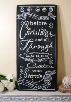 Twas the Night Before Christmas Sign - Custom Chalkboard -  Typography Word Art
