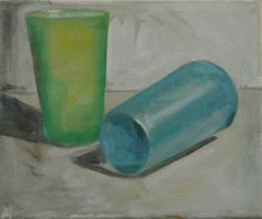 Plastic Beakers #1 oil on canvas 23x30cm