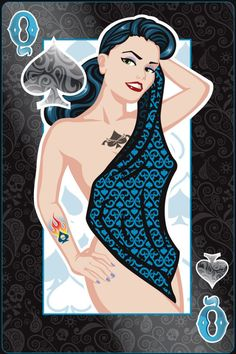 Pin-Up Playing Cards by Jeff Chapman: The Queen of Spades   more here: http://playingcardcollector.net/2015/03/27/pin-up-playing-cards-by-jeff-chapman/
