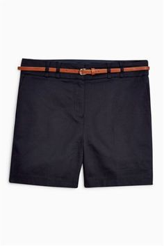 Navy Cotton Blend Twill Shorts