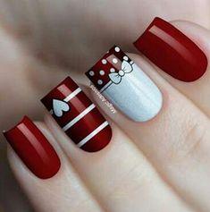 Red Nail Art, Pretty Nail Art, Red Nails, Maroon Nails, Heart Nail Art, Heart Nails, Christmas Nail Art Designs, Christmas Nails, Simple Nail Art Designs