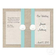 @Brittany Horton Silcox  Beach themed burlap wedding invite