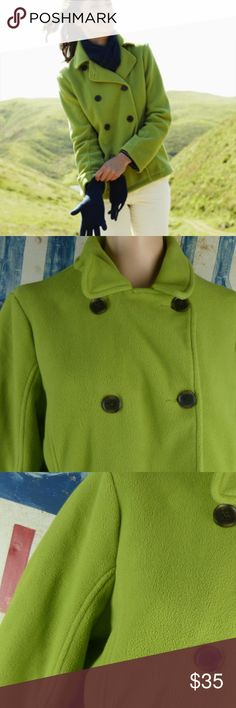 """Lands' End Thermacheck Pea Coat Jacket Size LP Lands' End Green Thermacheck Pea Coat Jacket Size Large Petite LP MSRP $79.50 Excellent condition  Lined 25"""" L 24"""" side to side at the under arm Polyester Lands' End Jackets & Coats"""