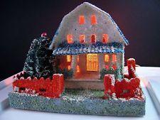 Lot G ~ vtg Cardboard House for Christmas village / putz * Coconut Mica * JAPAN