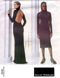 Vogue 2230 Isaac Mizrahi Dress in 2 Lengths, Evening w/Open Back Sewing Pattern #Vogue