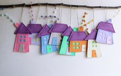Set of eight felt houses in pastel colors  Housewarming by Intres, $35.00