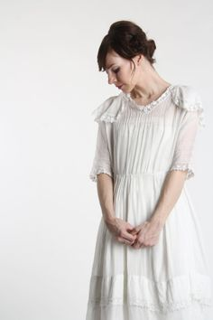 Antique Edwardian Dress . 1910s White Gown by VeraVague on Etsy, $220.00