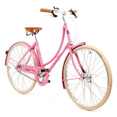 Poppy (Blush Pink) Pashley with honey brown Brooks saddle. Add a basket and a skirt guard and I'd have my dream bike!
