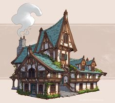 Medieval Inns, Jourdan Tuffan - Minecraft, Pubg, Lol and Fantasy Town, Fantasy House, Medieval Fantasy, Minecraft Medieval Village, Medieval Houses, Minecraft Designs, Minecraft Projects, Building Concept