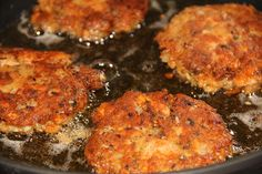 Salmon Croquettes - Make white sauce by reserving a little oil in skillet, add 2 tablespoon flour and 2/3 cup of milk. Heat and stir until thick. Remove from heat.  Serve over patties with Ketchup and/or Tabasco Sauce